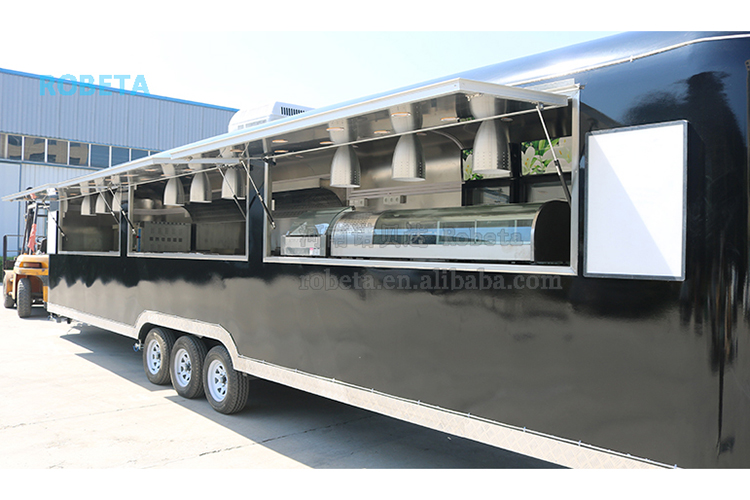 10m 11m long food truck extra large catering trailer 3 axles