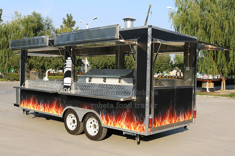 China Custom Mobile Street Fast Vending Carts Fast Food Truck Used Car Van Food Trailers with Freezer for Sale Europe
